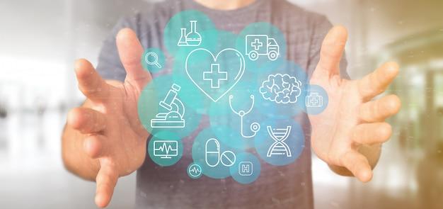 医療アイコンと接続を保持している実業家