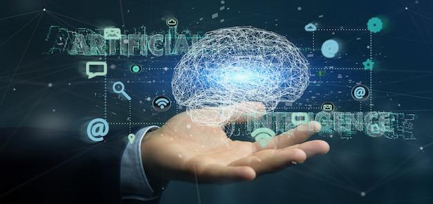 Бизнесмен держит искусственный интеллект с мозгом и приложением