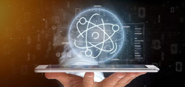 Бизнесмен держит значок атома в окружении данных