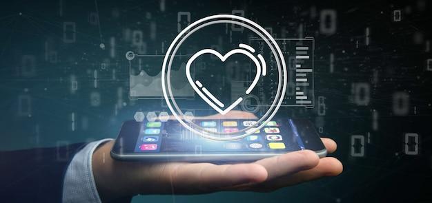 Бизнесмен держит значок сердца в окружении данных