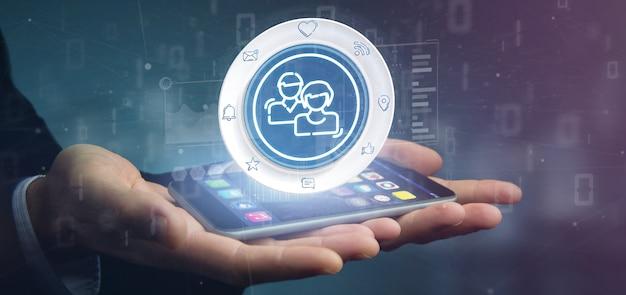 ソーシャルメディアネットワーク連絡先アイコンを保持している実業家