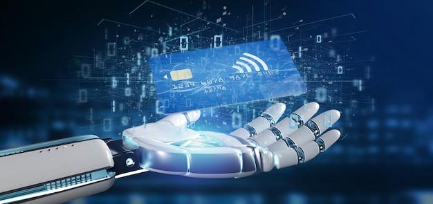 Киборг рука, держащая бесконтактную оплату кредитной картой
