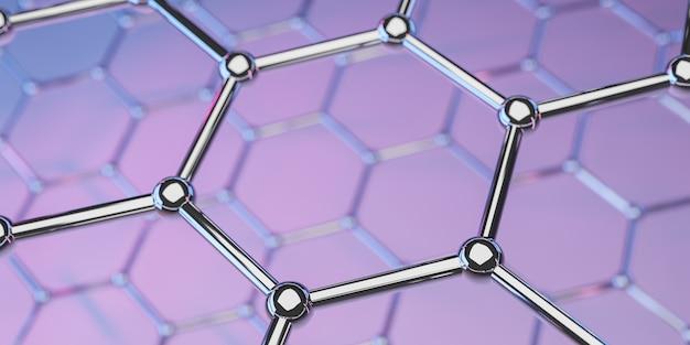 紫色のグラフェン分子ナノテクノロジー構造