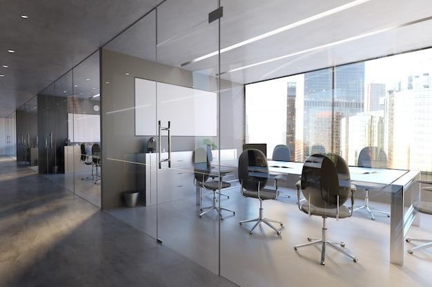 ガラス事務室の壁