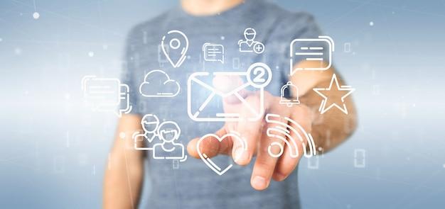 Бизнесмен держит облако значок социальных сетей