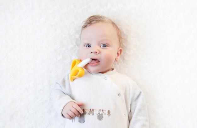クローズアップの肖像画彼の手でおもちゃで大きな青い目を持つかわいい坊や、バナナの歯が生えるおもちゃをかじる