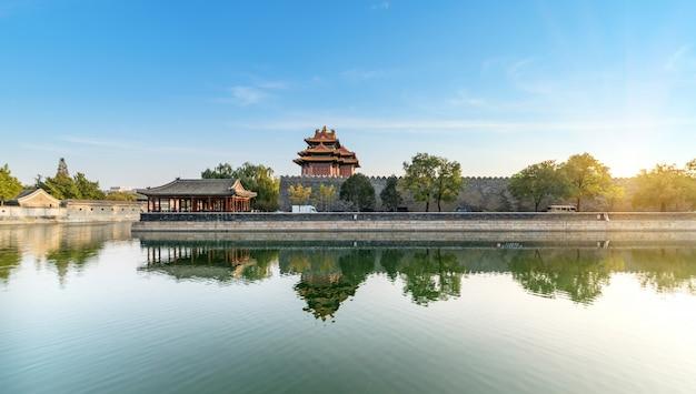 北京の皇居コーナータワーの風景
