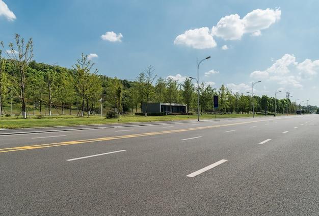 アスファルト道路と田舎の緑の木