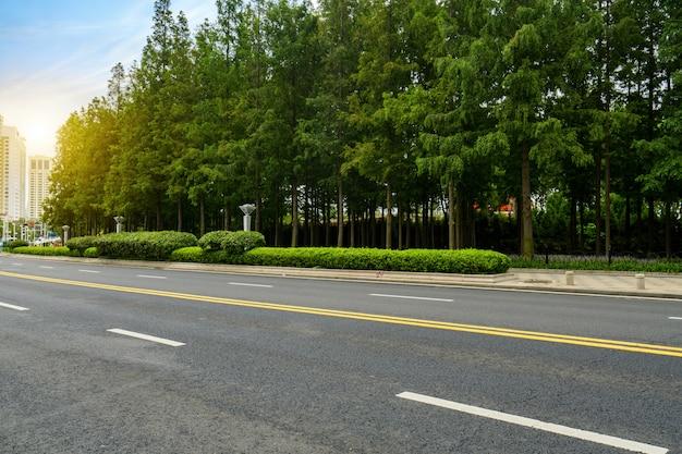 高速道路と緑豊かな森林屋外、青島、中国