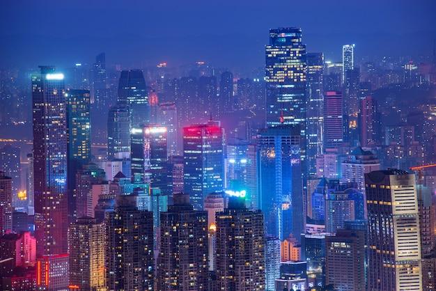 パノラマの街の風景、中国の重慶市の美しい夜景