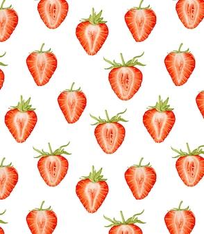 水彩イチゴのシームレスなパターン。