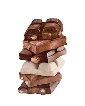 Акварель шоколад, изолированные на белом фоне.