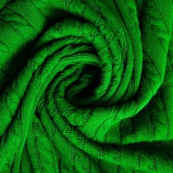 上質なウール生地の緑のテクスチャ