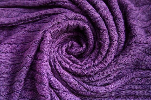 紫色のウールチェック柄のソフトプリーツ