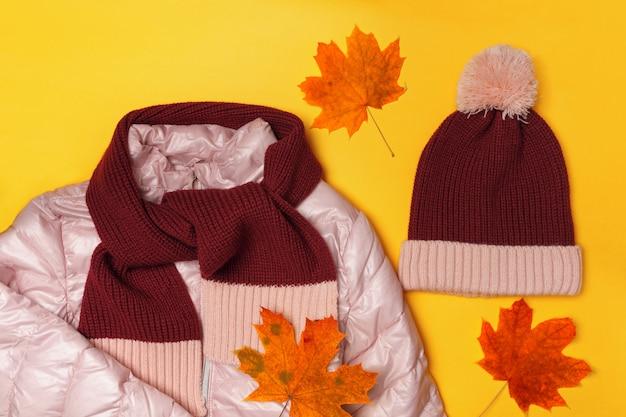 暖かい子供服と紅葉の組成の平面図