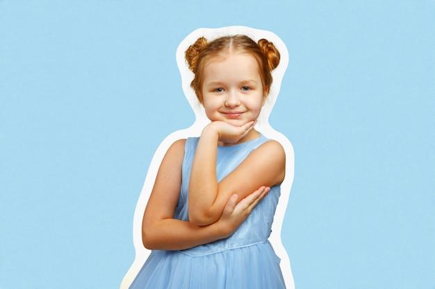 肖像画の色のドレスの少女