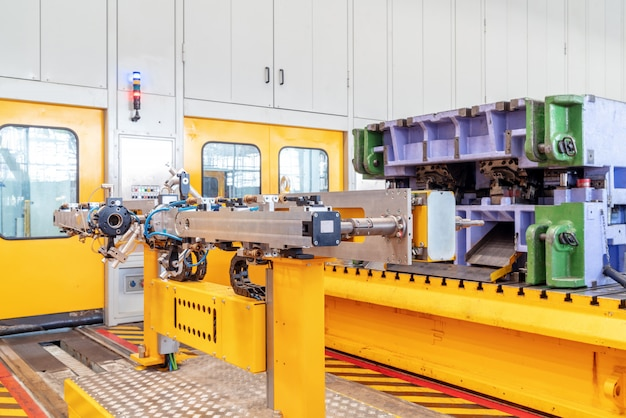 自動車生産ライン機器のクローズアップ
