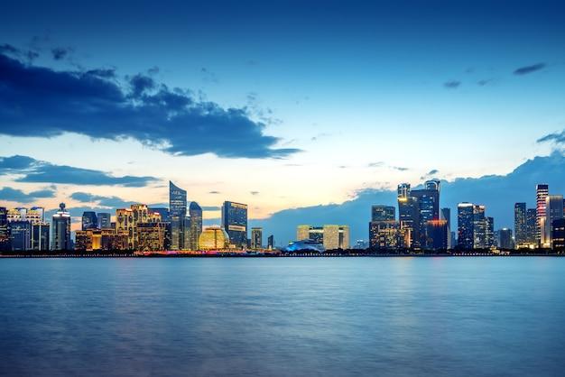 Панорама ханчжоу цяньцзян новый город, китай