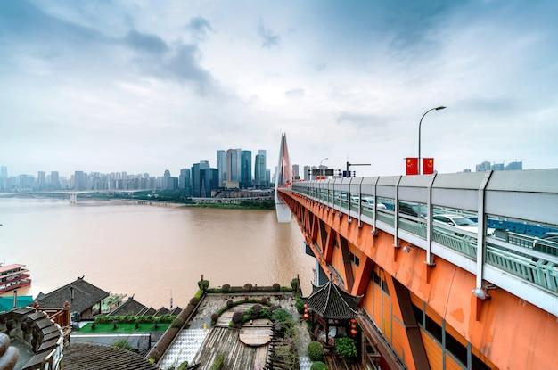 Городской пейзаж чунцина и небоскребы