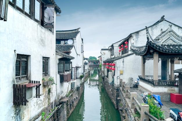 蘇州の古代町の夜景