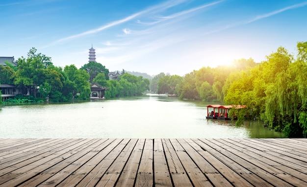 Стройное западное озеро, янчжоу, китай