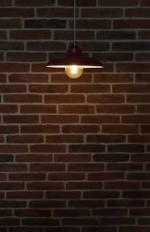 レンガの壁に吊り下げられた電球