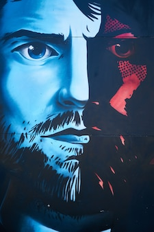 Картина с рисунком лица человека