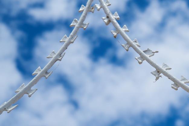 有刺鉄線と曇り空