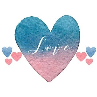 水彩心とレタリングとバレンタインの日グリーティングカード