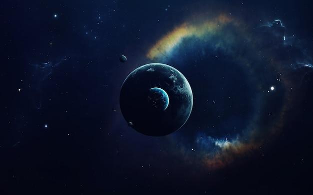 宇宙アート、サイエンスフィクション。巨大な星雲。宇宙の何十億もの銀河。