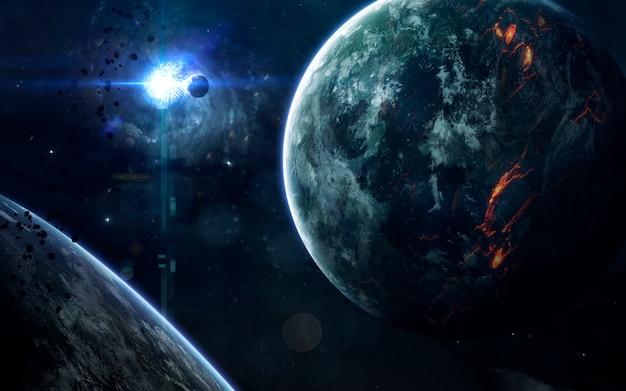 無限の宇宙の深宇宙の美しさ、惑星、星、銀河。