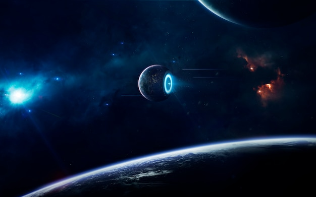 Научно-фантастические космические обои, невероятно красивые планеты, галактики, мрачная и холодная красота бесконечной вселенной.