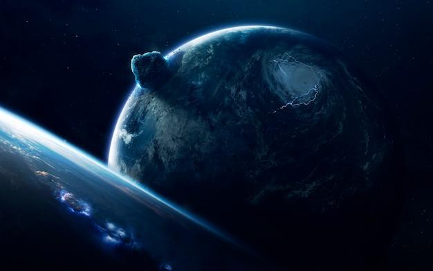 小惑星。サイエンスフィクションスペースの壁紙、信じられないほど美しい惑星、銀河、無限の宇宙の暗くて冷たい美しさ。