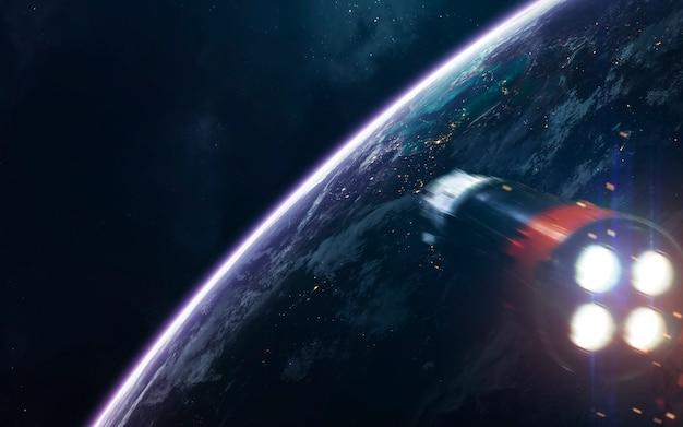 宇宙船。サイエンスフィクションスペースの壁紙、信じられないほど美しい惑星、銀河、無限の宇宙の暗くて冷たい美しさ。
