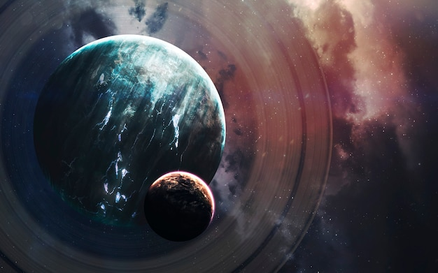 無限の宇宙、空想科学小説の画像、巨大な惑星、ホットスター、スターフィールドのある暗い深宇宙。信じられないほど美しい宇宙の風景。