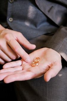 男の手に金の結婚指輪。
