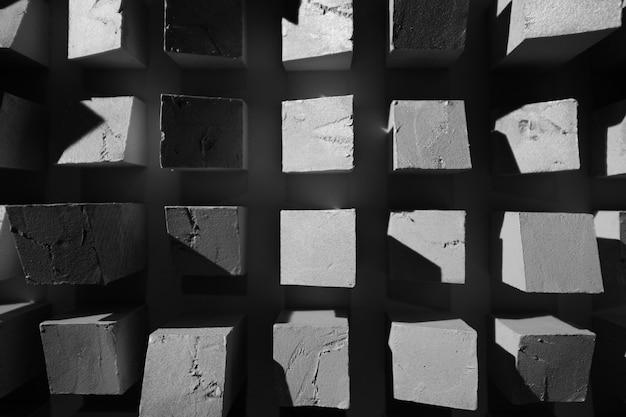 抽象的な正方形の黒と白のテクスチャ背景