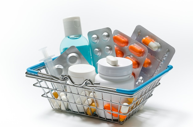 タブレットと白のショッピングカートの薬