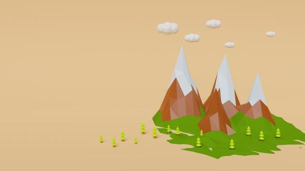 低ポリ山とオレンジ色のパステル背景に雲と木
