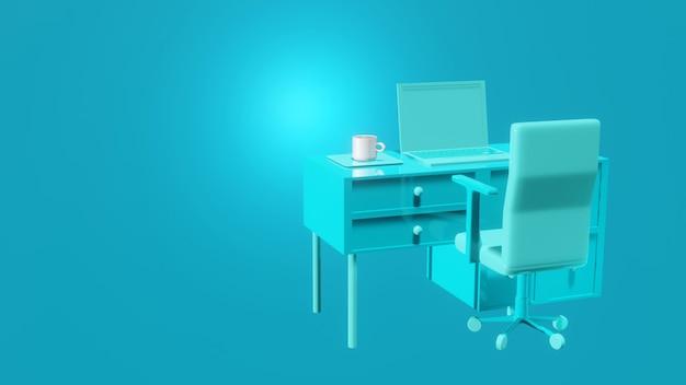 Синий ноутбук на столе с кружкой кофе и стул на синем фоне