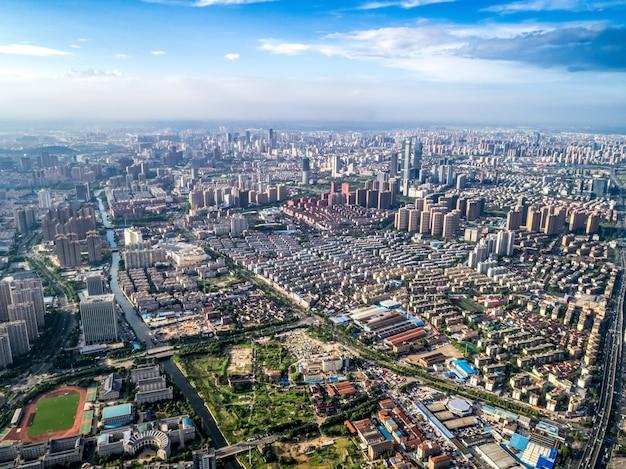 中国都市の航空写真
