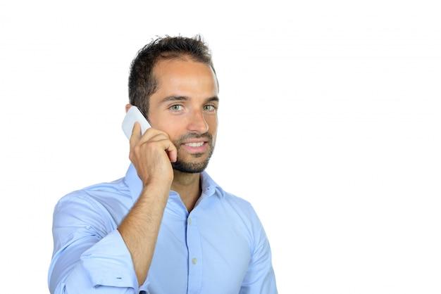 電話での若手実業家の肖像画