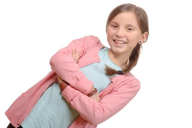 三つ編みの美しい少女の肖像画