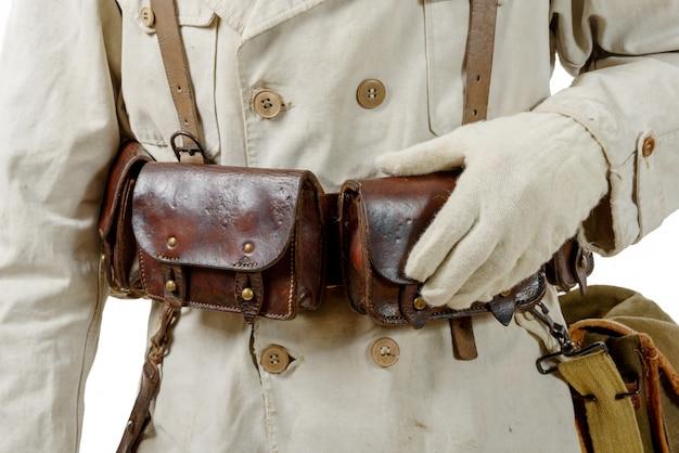 Крупным планом второй мировой войны французский кожаный боеприпас