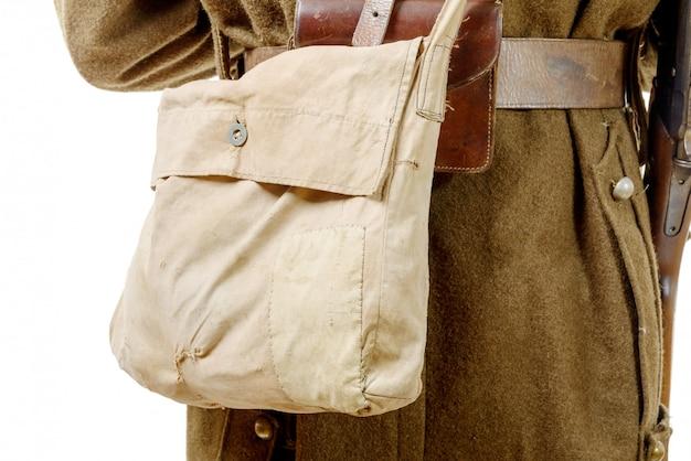Закройте на холсте сумку французских военных