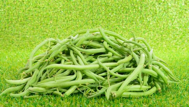 草の上の緑の豆の山