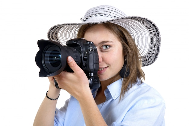 Девушка сфотографироваться с цифровой камерой