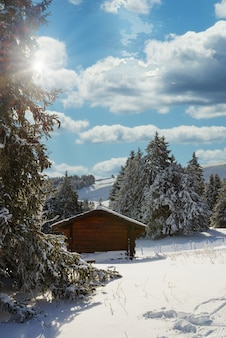 Зимний пейзаж с небольшим шале