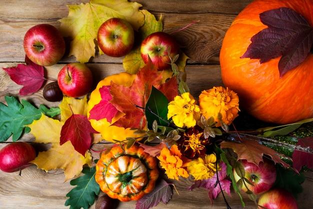 Цветы календулы, яблоки, тыквы и осенние листья, вид сверху