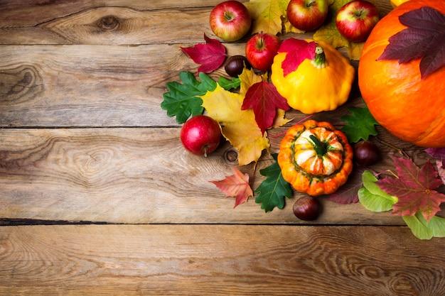 リンゴ、カボチャ、紅葉、コピーのフレーム